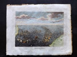Field of Mars 1801 Hand Col Naval Print. Defeat of the Spanish Armada